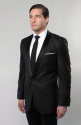 Men's Black Jacquard Shawl Collar Slim Fit Jacket