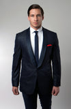Men's Navy Jacquard Shawl Collar Slim Fit Jacket