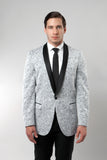 Men's Silver Damask Patterned Shawl Lapel Slim Fit Blazer