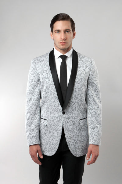 Silver Damask Patterned Shawl Lapel Slim Fit Blazer