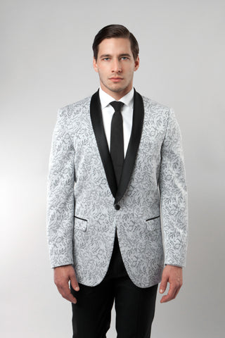 Men's Silver Jacquard Shawl Collar Slim Fit Jacket