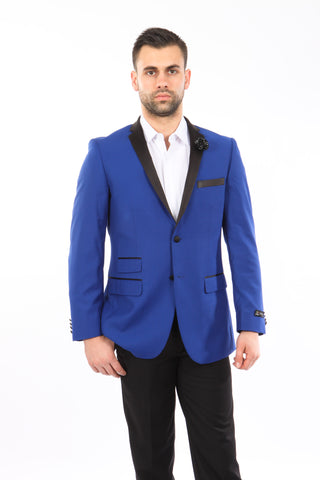 Blue Tuxedo Jacket with Black Lapel