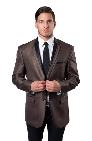 Brown Houndstooth Pattern Modern Fit Dinner Jacket