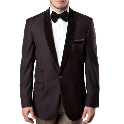 Brown Velvet Shawl Collar Tuxedo Jacket