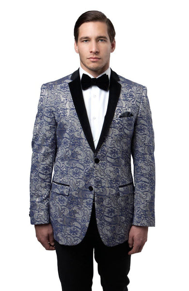Silver Floral Patterned  Slim Fit Blazer