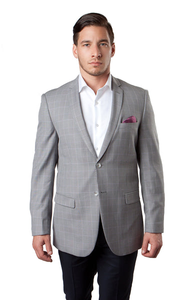 Grey Window Pattern Wool Sports Coat