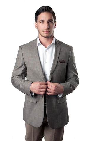 Taupe Window Pattern Wool Sports Coat