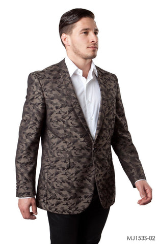 Brown Camouflage Patterned Slim Fit Blazer