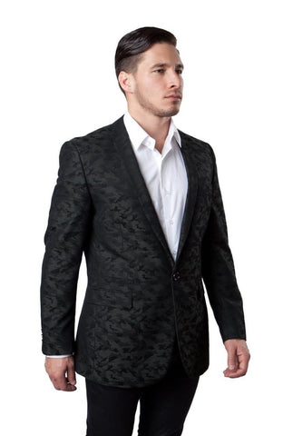 Green Camouflage Patterned Slim Fit Blazer