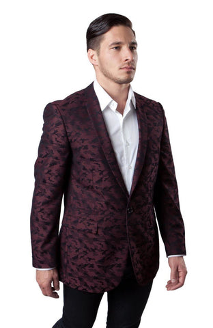 Red Camouflage Patterned Slim Fit Blazer