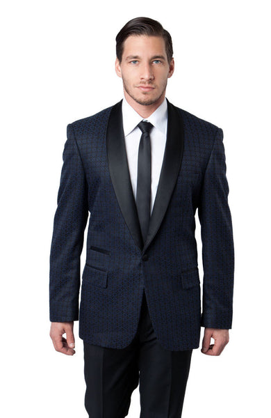 Navy Chain Pattern Slim Fit Blazer