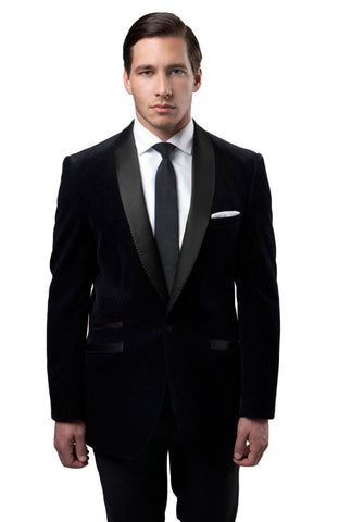 Black velvet Slim Fit Blazer