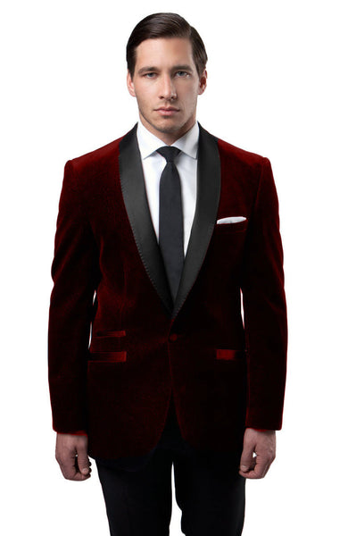 Burgundy velvet Slim Fit Blazer