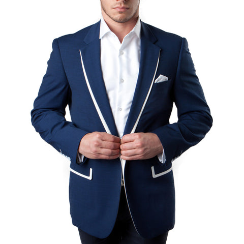 Dark Blue Blazer With White Trim Notch Lapel