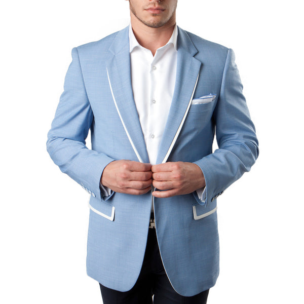 Sky Blue Blazer With White Trim Notch Lapel