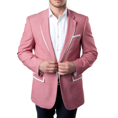 Salmon Blazer With White Trim Notch Lapel