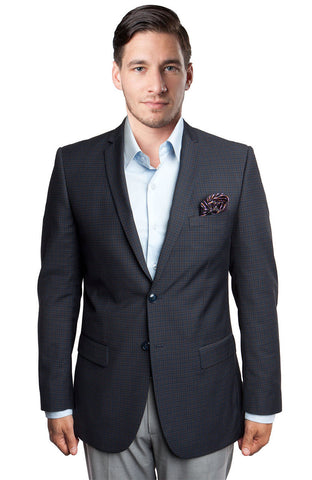 Black Windowpane Notch Lapel Sports Coat