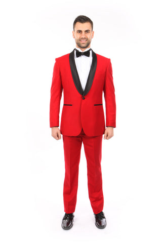 Red 1 Button Shawl Lapel Slim Fit Tuxedo