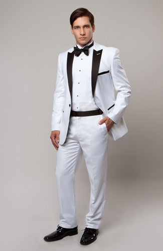 One Button Slim Fit Suit with Peak Lapel and Contrast Details Silver/Black Pants