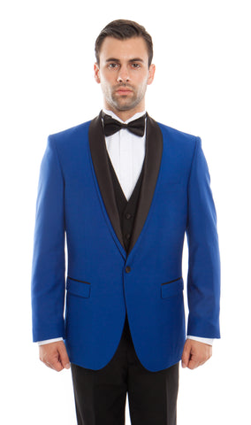 Blue Shawl Lapel 3 Piece Vested Slim Fit Tuxedo