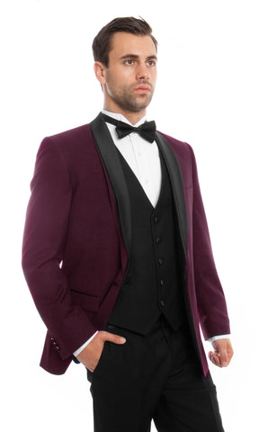 Burgundy Shawl Lapel 3 Piece Vested Slim Fit Tuxedo