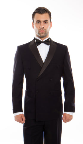 Black Peak Lapel Double Breasted Slim Fit Tuxedo