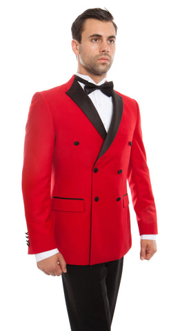 Red Peak Lapel Double Breasted Slim Fit Tuxedo