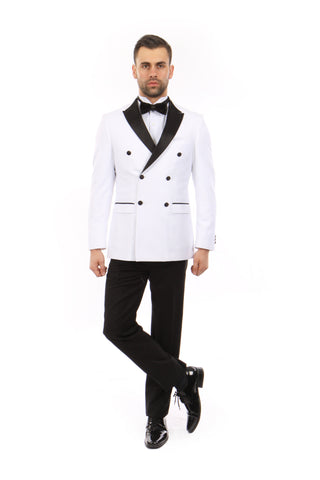 White Peak Lapel Double Breasted Slim Fit Tuxedo