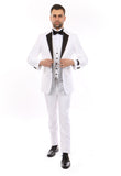 White with Black Lapel 3 Piece Vested Slim Fit Tuxedo
