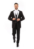Black with White Lapel 3 Piece Vested Slim Fit Tuxedo