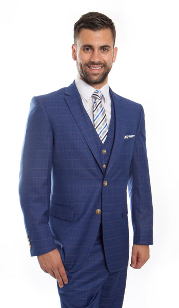 Blue Wool Windowpane Vested Suit