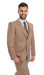 Tan Italian Wool Windowpane Vested Suit