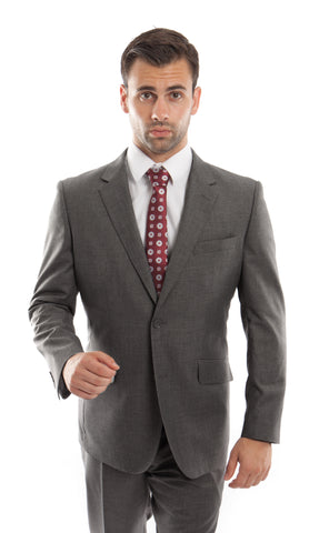 Charcoal Wool Twill Modern Fit Suit