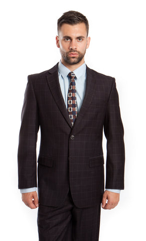 Black Wool Modern Fit Windowpane  Suit