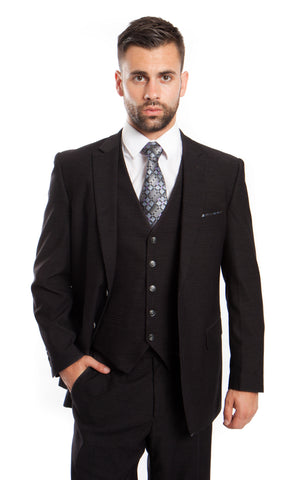 Black Wool Bird's Eye Pattern 3 Piece Suit