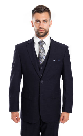 Navy Wool Bird's Eye Pattern 3 Piece Suit