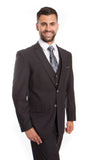 Grey Wool Bird's Eye Pattern 3 Piece Suit