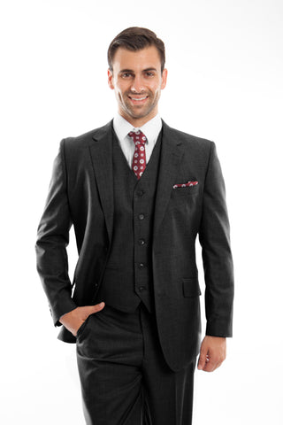 Black Wool Modern Fit 3 Piece Suit