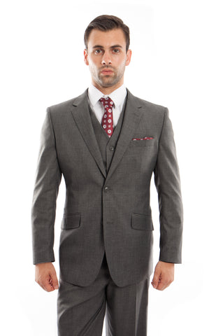 Charcoal Wool Modern Fit 3 Piece Suit