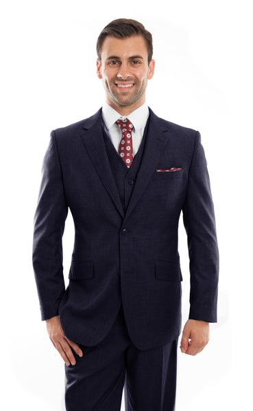 Navy Wool Modern Fit 3 Piece Suit