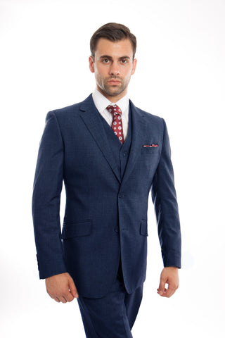 Indigo Blue Wool Modern Fit 3 Piece Suit