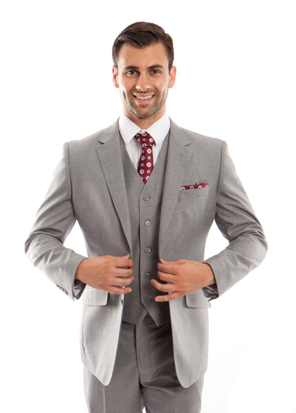 Grey Wool Modern Fit 3 Piece Suit