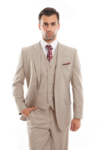 Tan Wool Modern Fit 3 Piece Suit