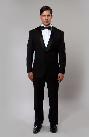 Black 1 Button Shawl Lapel Slim Fit Tuxedo
