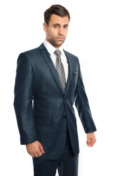 Mid Blue Two Button Slim Fit Sharkskin Suit