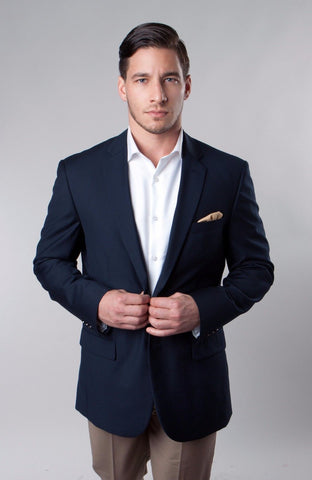 Navy Solid Two Button Slim Fit Blazer