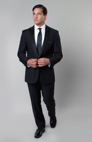 Navy 1 Button Peak Lapel Tuxedo