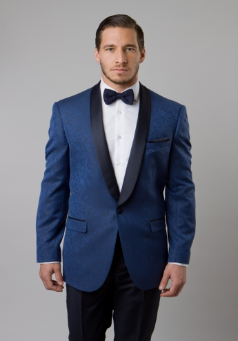 Blue Damask Patterned Shawl Lapel Slim Fit Blazer