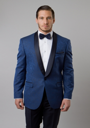 Men's Blue Damask Patterned Shawl Lapel Slim Fit Blazer