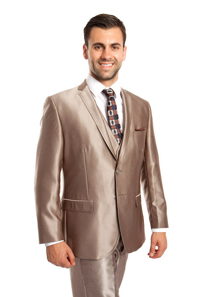 Men's Dark Taupe Three-Piece Shiny Vested Suit